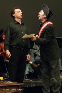 Bass-baritone Eugene Galvin and tenor Robert Baker in rehearsal of Opera Lafayette's production of Il Barbiere di Siviglia by Paisiello