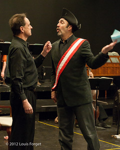 (L. to R.) Bass-baritone Eugene Galvin and tenor Robert Baker in rehearsal of Opera Lafayette's production of Il Barbiere di Siviglia by Paisiello