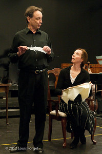 (L. to R.) Bass-baritone Eugene Galvin and soprano Jennifer Casey Cabot in rehearsal of Opera Lafayette's production of Il Barbiere di Siviglia by Paisiello