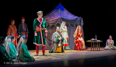 (L. to R.) Andrew Adelsberger, David Newman, Bernard Deletré, Emiliano Gonzalez Toro, Nathalie Paulin and Marianne Fiset with members of Kalanidhi Dance in Opera Lafayette's production of Lalla Roukh by Félicien David