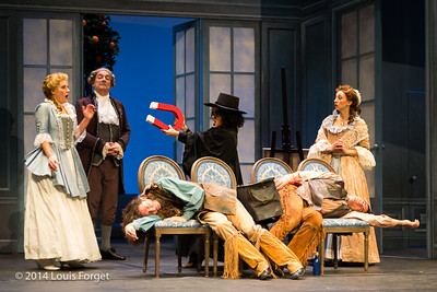 (L. to R.) (standing) Blandine Staskiewicz, Bernard Deletré, Claire Debono and Pascale Beaudin (on Seats) Alex Dobson and Antonio Figueroa in Opera Lafayette's production of Mozart's Cosi fan tutte at the Opéra Royal, Versailles