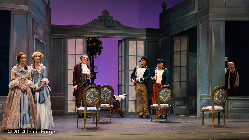(L. to R.) Claire Debono, Pascale Beaudin, Blandine Staskiewicz, Bernard Deletré, Alex Dobson and Jeffrey Thompson in Opera Lafayette's production of Mozart's Cosi fan tutte at the Opéra Royal, Versailles