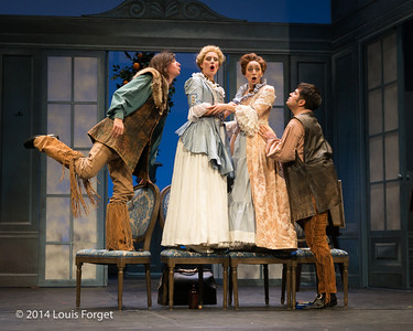 (L. to R.) Alex Dobson, Blandine Staskiewicz, Pascale Beaudin and Antonio Figueroa in Opera Lafayette's production of Mozart's Cosi fan tutte at the Opéra Royal, Versailles