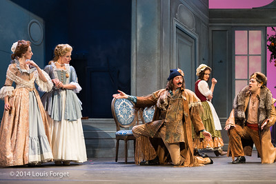 (L. to R.) Pascale Beaudin, Blandine Staskiewicz, Alex Dobson, Claire Debono and Antonio Figueroa in Opera Lafayette's production of Mozart's Cosi fan tutte at the Opéra Royal, Versailles