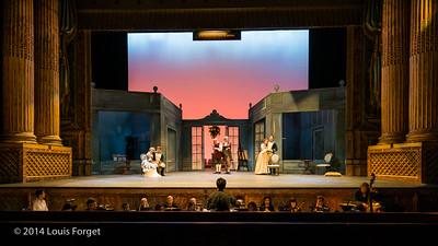 (L. to R.) Blandine Staskiewicz, Antonio Figueroa, Jeffrey Thompson, Bernard Deletré, Pascale Beaudin, Alex Dobson with conductor Ryan Brown in Opera Lafayette's production of Mozart's Cosi fan tutte at the Opéra Royal, Versailles