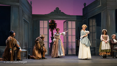 (L. to R.) Alex Dobson, Antonio Figueroa, Pasdale Beaudin, Blandine Staskiewicz, Claire Debono and Bernard Deletré in Opera Lafayette's production of Mozart's Cosi fan tutte at the Opéra Royal, Versailles