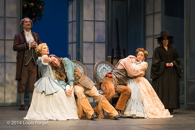 (L. to R.) (standing) Bernard Deletré and Claire Debono (on seats) Blandine Staskiewicz, Alex Dobson, Antonio Figueroa and Pascale Beaudin in Opera Lafayette's production of Mozart's Cosi fan tutte at the Opéra Royal, Versailles