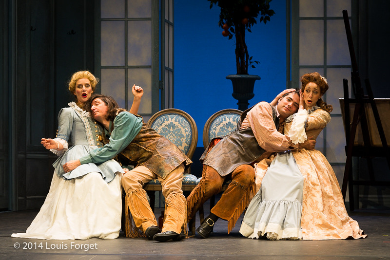 (L. to R.) Blandine Staskiewicz, Alex Dobson, Antonio Figueroa and Pascale Beaudin in Opera Lafayette's production of Mozart's Cosi fan tutte at the Opéra Royal, Versailles
