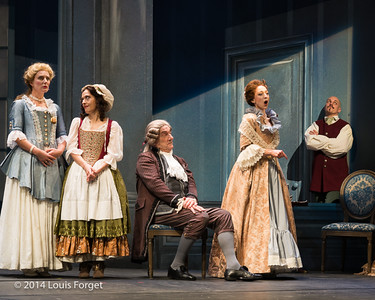 (L. to R.) Mezzo-soprano Blandine Staskiewicz, soprano Claire Debono, bass-baritone Bernard Deletré, soprano Pascale Beaudin and tenor Jeffrey Thompson in Opera Lafayette's production of Mozart's Cosi fan tutte at the Opéra Royal, Versailles, January 29, 2014. Photo: Louis Forget