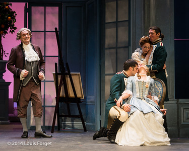 (L. to R.) Bernard Deletré, Antonio Figueroa, Blandind Staskiewicz, Pascale Beaudin and Alex Dobson in Opera Lafayette's production of Mozart's Cosi fan tutte at the Opéra Royal, Versailles