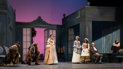 (L. to R.) Alex Dobson, Antonio Figueroa, Pasdale Beaudin, Blandine Staskiewicz, Claire Debono and Bernard Deletré in Opera Lafayette's production of Mozart's Cosi fan tutte at the Opéra Royal, Versailles