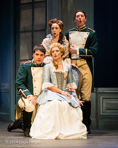 (L. to R.) (seated) Antonio Figueroa, Blandine Staskiewicz and Pascale Beaudin (standing) Bernard Deletré and Alex Dobson in Opera Lafayette's production of Mozart's Cosi fan tutte at the Opéra Royal, Versailles