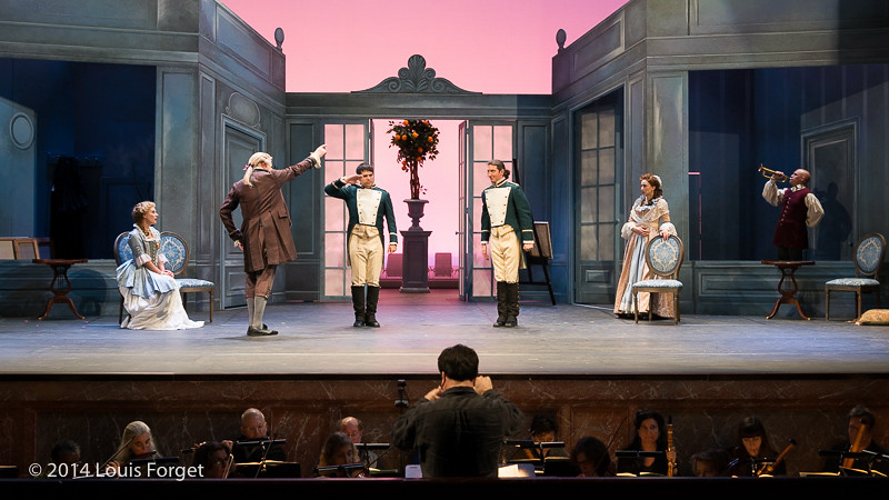 (L. to R.) Blandine Staskievicz, Bernard Deletré, Antonio Figueroa, Alex Dobson, Pascale Beaudin and Jeffrey Thompson with conductor Ryan Brown in Opera Lafayette's production of Mozart's Cosi fan tutte at the Opéra Royal, Versailles