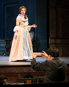 Pascale Beaudin and conductor Ryan Brown in Opera Lafayette's production of Mozart's Cosi fan tutte at the Opéra Royal, Versailles