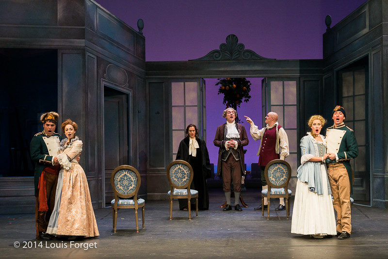 (L. to R.) Antonio Figueroa, Pascale Beaudin, Claire Debono, Bernard Deletré, Jeffrey Thompson, Blandine Staskiewicz and Alex Dobson in Opera Lafayette's production of Mozart's Cosi fan tutte at the Opéra Royal, Versailles