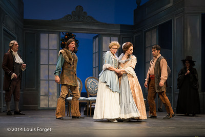 (L. to R.) Bernard Deletré, Alex Dobson, Blandine Staskiewicz, Pascale Beaudin, Claire Debono and Antonio Figueroa in Opera Lafayette's production of Mozart's Cosi fan tutte at the Opéra Royal, Versailles