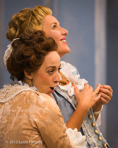 (Front to back) Pascale Beaudin and Blandine Staskiewicz in rehearsal of Opera Lafayette's production of Mozart's Cosi fan tutte
