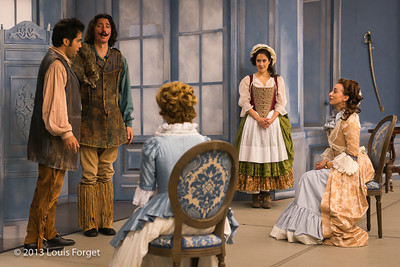 (L. to R.) Antonio Figueroa, Alex Dobson, Blandine Staskiewicz, Claire Debono and Pascale Beaudin in rehearsal of Opera Lafayette's production of Mozart's Cosi fan tutte