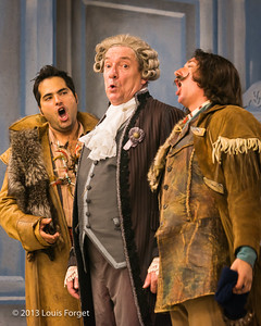 (L. to R.) Tenor Antonio Figueroa, bass-baritone Bernard Deletré and baritone Alex Dobson in rehearsal of Opera Lafayette's production of Mozart's Cosi fan tutte
