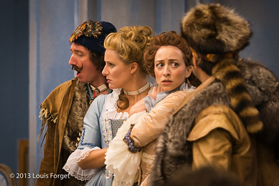 (L. to R.) Alex Dobson, Blandine Staskiewicz, Pascale Beaudin and Antonio Figueroa in rehearsal of Opera Lafayette's production of Mozart's Cosi fan tutte