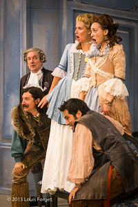 (In background) Bernard Deletré, (in foreground, L. to R.) Alex Dobson, and Antonio Figueroa, (standing on chairs) Blandine Staskiewicz and Pascale Beaudin in rehearsal of Opera Lafayette's production of Mozart's Cosi fan tutte