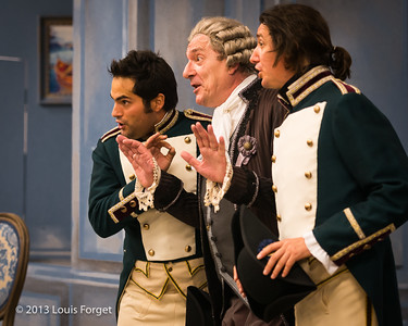 (L. to R.) Antonio Figueroa, Bernard Deletré and Alex Dobson in rehearsal of Opera Lafayette's production of Mozart's Cosi fan tutte