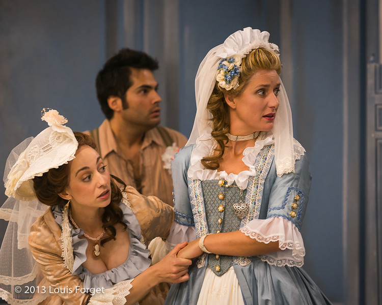 (L. to R.) Pascale Beaudin, Antonio Figueroa and Blandine Staskiewicz in rehearsal of Opera Lafayette's production of Mozart's Cosi fan tutte