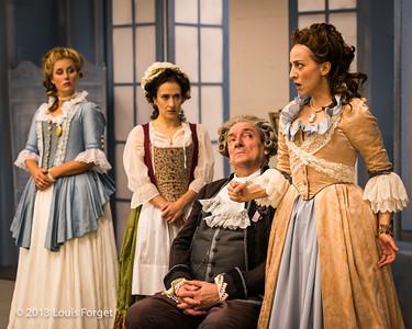 (L. to R.) Blandine Staskiewicz, Claire Debono, Bernard Deletré and Pascale Beaudin in rehearsal of Opera Lafayette's production of Mozart's Cosi fan tutte