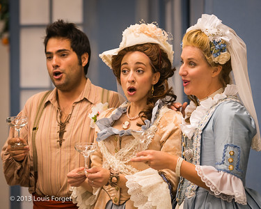 (L. to R.) Antonio Figueroa, Pascale Beaudin and Blandine Staskiewicz in rehearsal of Opera Lafayette's production of Mozart's Cosi fan tutte
