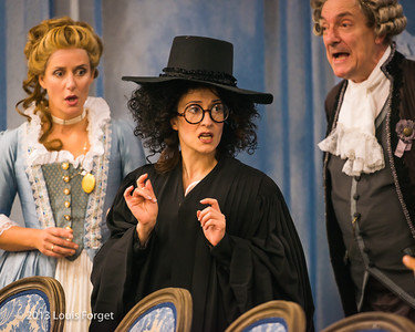 (L. to R.) Blandine Staskiewicz, Claire Debono and Bernard Deletré in rehearsal of Opera Lafayette's production of Mozart's Cosi fan tutte