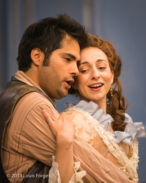 (L. to R.) Antonio Figueroa and Pascale Beaudin in Opera Lafayette's rehearsal of production of Mozart's Cosi fan tutte