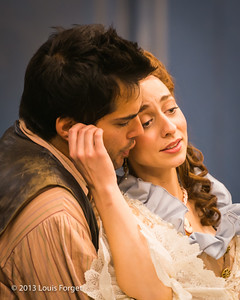 (L. to R.) Antonio Figueroa and Pascale Beaudin in rehearsal of Opera Lafayette's production of Mozart's Cosi fan tutte