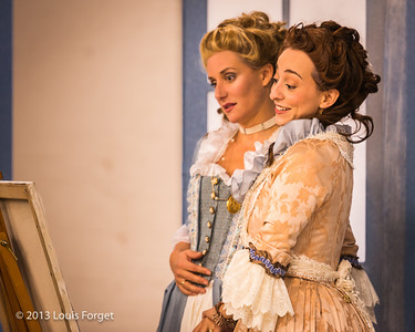 (L. to R.) Blandine Staskiewicz and Pascale Beaudin in rehearsal of Opera Lafayette's production of Mozart's Cosi fan tutte
