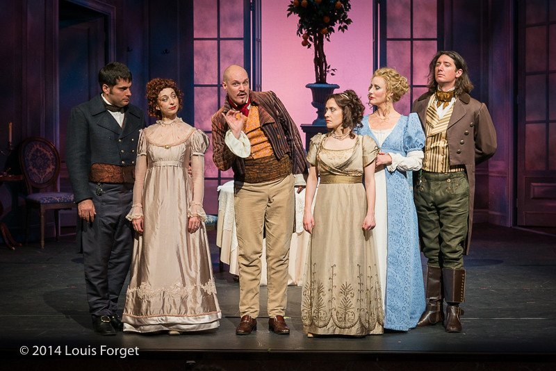 (L. to R.) Antonio Figueroa, Pascale Beaudin, Jeffrey Thompson, Claire Debono, Blandine Staskiewicz and Alex Dobson, Claire Debono with conductor Ryan Brown in Opera Lafayette's production of  Philidor's Les Femmes Vengées at the Opéra Royal, Versailles