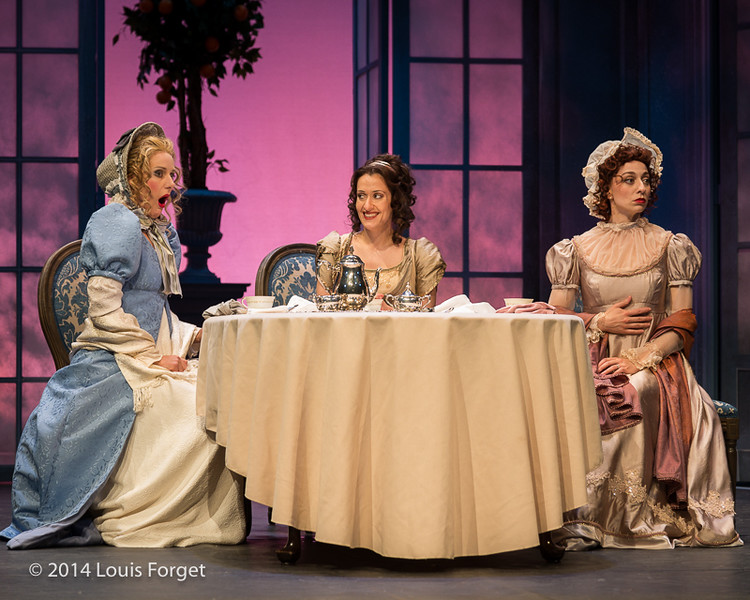 (L. to R.) Claire Debono, Blandine Staskiewicz and Pascale Beaudin in Opera Lafayette's production of Philidor's Les Femmes Vengées at the Opéra Royal, Versailles