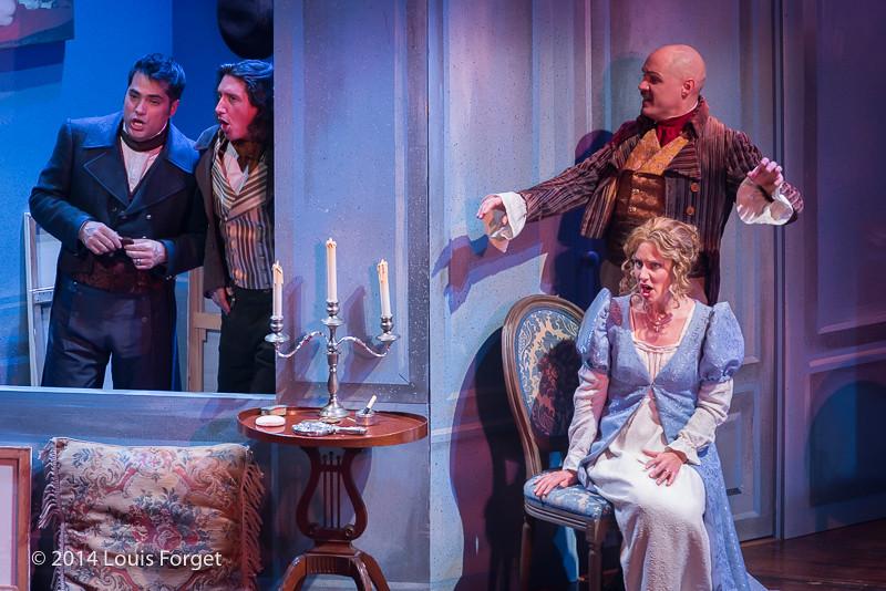 (L. to R.) Antonio Figueroa, Alex Dobson, Jeffrey Thompson and Blandine Staskiewicz in Opera Lafayette's production of Les Femmes Vengées by Philidor