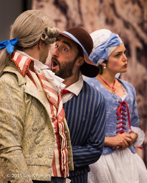 (L. to R.) Baritone Thomas Dolié, tenor Francisco Fernández-Rueda and soprano Sophie Junker in Opera Lafayette's production of Grétry's L'Épreuve Villageoise