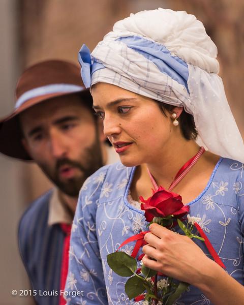 (L. to R.) Tenor Francisco Fernández-Rueda and soprano Sophie Junker in Opera Lafayette's production of Grétry's L'Épreuve Villageoise