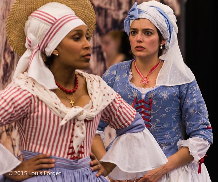 (L. to R.) Sopranos Talise Trevigne and Sophie Junker in Opera Lafayette's production of Grétry's L'Épreuve Villageoise