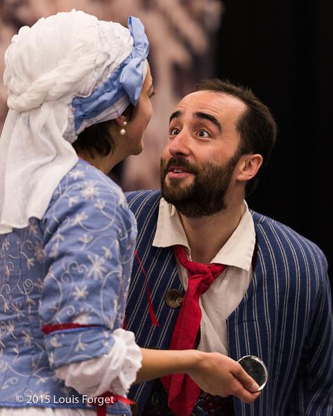 (L. to R.)  Soprano Sophie Junker and tenor Francisco Fernández-Rueda in Opera Lafayette's production of Grétry's L'Épreuve Villageoise