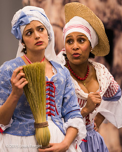 (L. to R.)  Sopranos Sophie Junker and Talise Trevigne in Opera Lafayette's production of Grétry's L'Épreuve Villageoise