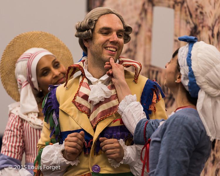 (L. to R.) Soprano Talise Trevigne, baritone Thomas Dolié and soprano Pascale Beaudin in Opera Lafayette's production of Grétry's L'Épreuve Villageoise