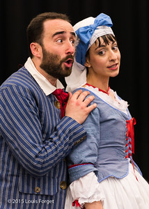 (L. to R.) Tenor Francisco Fernáandez-Rueda and soprano Pascale Beaudin in Opera Lafayette's production of Grétry's L'Épreuve Villageoise