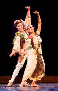 (L. to R.) Andrew Trego of the New York Baroque Dance Company and Chitra Kalyandurg of Kalanidhi Dance in Opera Lafayette's production of Rameau's Les Fêtes de l'Hymen et de l'Amour ou Les Dieux d'Égypte