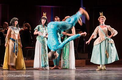 Aaron R. White of the Seán Curran Company (center, spinning) and cast in Opera Lafayette's production of Rameau's Les Fêtes de l'Hymen et de l'Amour ou Les Dieux d'Égypte