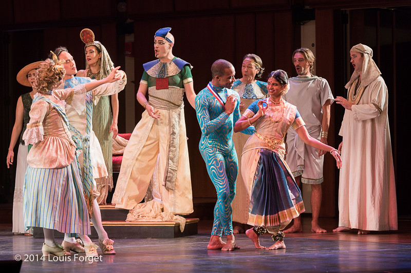 (L. to R.) Foreground: members of the New York Baroque Dance Company, the Seán Curran Company and Kalanidhi Dance; Background: soprano Laetitia Spitzer Grimaldi, soprano Claire Debono, tenor Jeffrey Thompson, baritone William Sharp, bass François Lis and tenor Aaron Sheehan in Opera Lafayette's production of Rameau's Les Fêtes de l'Hymen et de l'Amour ou Les Dieux d'Égypte