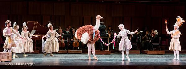 """(L. to R.) Members of the New York Baroque Dance Company, """"ostrich"""", soprano Kelly Ballou and soprano Laetitia Spitzer Grimaldi in Opera Lafayette's production of Rameau's Les Fêtes de l'Hymen et de l'Amour ou Les Dieux d'Égypte"""