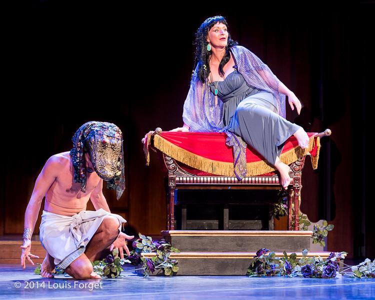 (L. to R.) Bass François Lis and soprano Ingrid Perruche in Opera Lafayette's production of Rameau's Les Fêtes de l'Hymen et de l'Amour ou Les Dieux d'Égypte