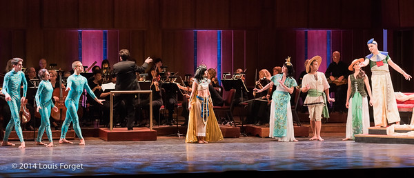 (L. to R.) Members of Kalanidhi Dance (kneeling), members of the Seán Curran Company (standing), Ryan Brown, Conductor, Carly Fox Horton of the He New York Baroque Dance Company, soprano Kelly Ballou, tenor Kyle Bielfield, soprano Laetitia Spitzer Grimaldi, tenor Jeffrey Thompson and baritone William Sharp in Opera Lafayette's production of Rameau's Les Fêtes de l'Hymen et de l'Amour ou Les Dieux d'Égypte