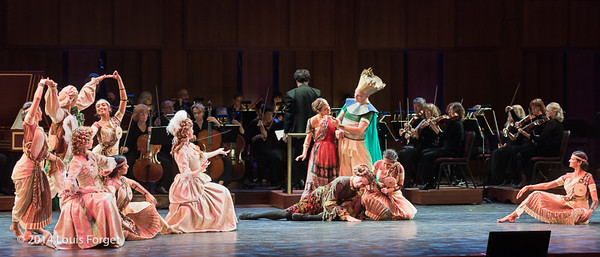 Members of Kalanidhi Dance and of the New York Baroque Dance Company, soprano Claire Debono and tenor Jeffrey Thompson with the orchestra conducted by Ryan Brown in Opera Lafayette's production of Rameau's Les Fêtes de l'Hymen et de l'Amour ou Les Dieux d'Égypte